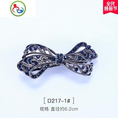 新款鑲嵌水晶蝴蝶結發夾飾品時尚水鉆頂夾合金發彈簧夾飾品 JING PING