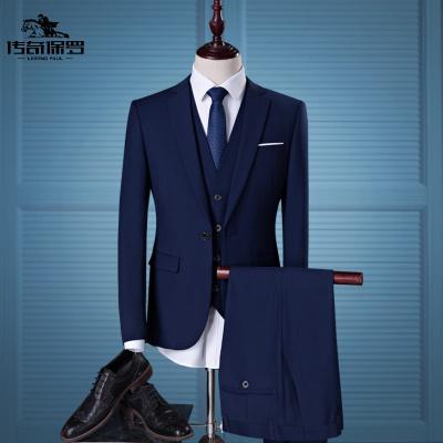 传奇保罗(CHUANQIBAOLUO)男士商务韩版修身职业正装小西服套装长袖西装三件套时尚大码西服套装
