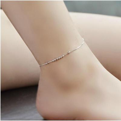 转运珠纯银脚链 s925纯银女士脚链 脚链 S925纯银(假一赔十)