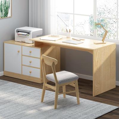 尋木匠書桌電腦桌臥室家用書架書柜一體書房可伸縮辦公桌寫字臺現代簡約