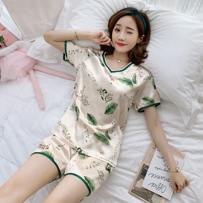 睡衣女夏季冰絲性感短袖女兩件套裝韓版卡通甜美可愛仿真絲家居服莎丞
