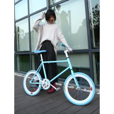 死飛自行車實心胎小活飛網紅輪車20寸迷你倒剎車單車學生成人男女死飛公路車自行車便攜輕巧輕便腳踏車男女變速腳踏車可帶人