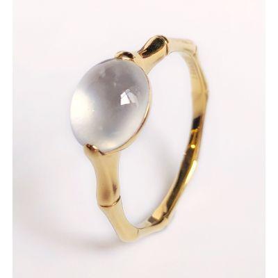 緣源珠寶 天然翡翠玉石冰種蛋面竹節戒指女款18K黃金鑲嵌精致時尚款送女友送老婆禮物
