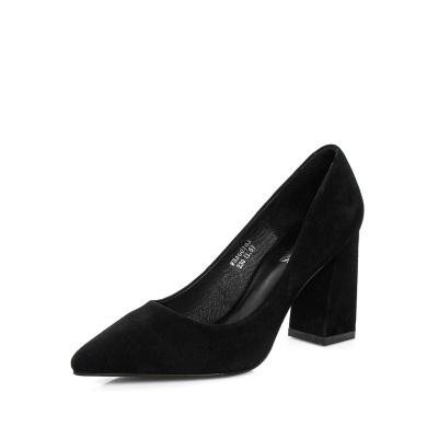 簡約大方潮流歐美羊猄尖頭粗跟高跟舒適單鞋女鞋工作鞋