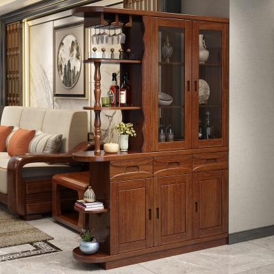 和樂家園 胡桃木實木間廳柜客廳隔斷柜玄關酒柜現代中式簡約門廳柜