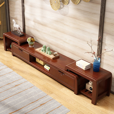木格尚品 新中式实木电视柜现代简约中式客厅组合可伸缩地柜储物柜