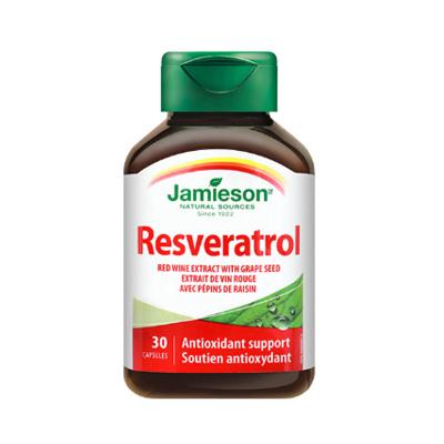 【呵护女性健康】jamieson 健美生 白藜芦醇葡萄籽复合软胶囊 30粒/瓶 加拿大进口 芦荟制剂 34克