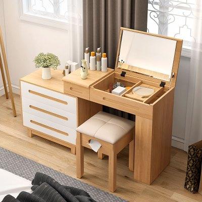 越茂 梳妆台实木卧室收纳化妆台小户型多功能简约欧式翻盖梳妆桌