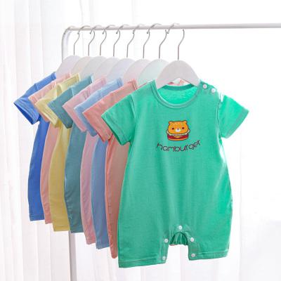 wua.wua嬰兒連體衣夏季短袖新生兒衣服寶寶睡哈衣開閉襠爬服