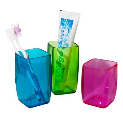 欧润哲(ORANGE) 情侣亲子洗漱杯3只套装 简约刷牙杯牙刷杯 浴室塑料水杯