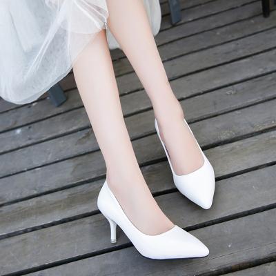 衫伊格(shanyige)2018新款 單鞋 女 皮鞋 黑色高跟鞋中跟 尖頭 細跟 高跟 (5-8厘米) 高跟鞋 女