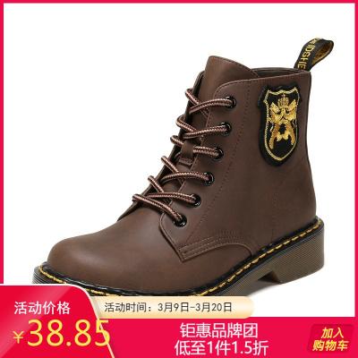 SHOEBOX/鞋柜冬季馬丁靴女英倫風中短筒復古時尚靴子女1117505246