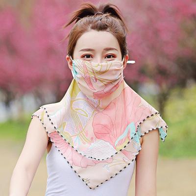 尚品杭夏季防塵防曬圍脖絲巾女圍脖口罩女護頸面罩遮陽遮臉開車神器面紗