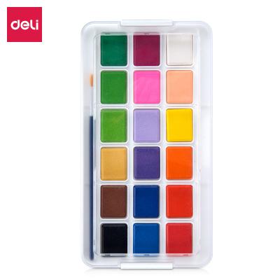 得力 73869 (deli)18色固體水彩顏料套裝初學者手繪水彩畫顏料