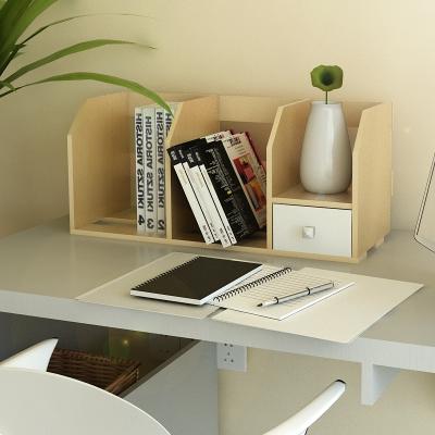 慧樂家 書柜書架 桌面帶抽小書架 辦公置物架 木 櫸木色 FNAL-11010