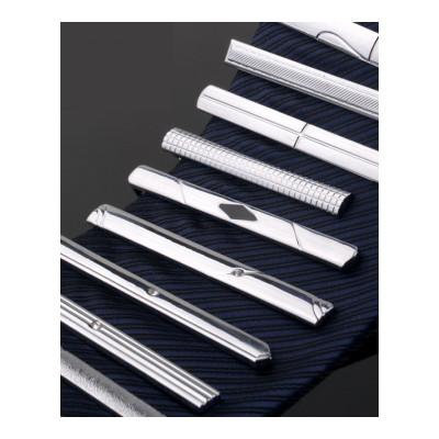 现代男孩 男士简约银色金属商务新郎结婚时尚水晶职业保安领带夹子(XIANDAINANHAI)