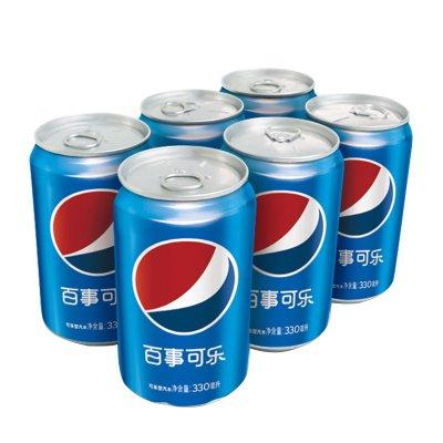 百事可乐 可乐型汽水330m*6l听装碳酸汽水饮料罐装