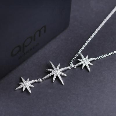 apm MONACO大小星星鎖骨鏈時尚吊墜925銀項鏈氣質流星百搭頸鏈女士首飾AC3350OX