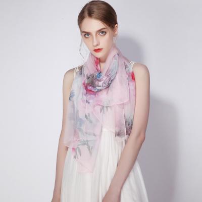 上海故事夏季薄款杭州絲綢真絲圍巾女百搭100%桑蠶絲絲巾春秋季紗巾禮盒裝