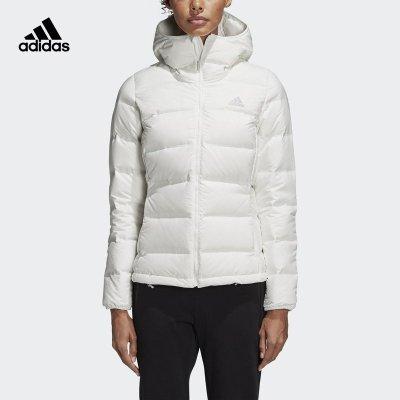 阿迪達斯(adidas)冬季女士白色連帽保暖運動羽絨服BQ1927