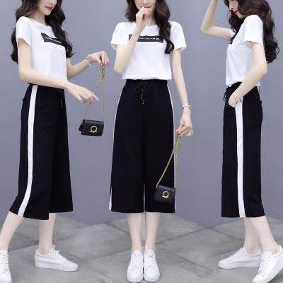 名麗斯2020新款闊腿褲運動服套裝女夏季時尚寬松韓版薄款休閑兩件套