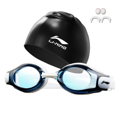 李寧泳鏡防水防霧高清游泳裝備近視平光游泳鏡硅膠防水泳帽套裝男女通用潛水眼鏡508新款