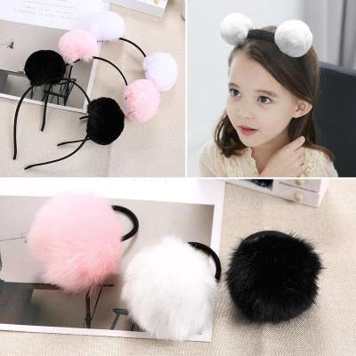 毛毛球圈兒童箍卡可愛甜美公主兔耳朵頭箍中大童毛絨頭飾品