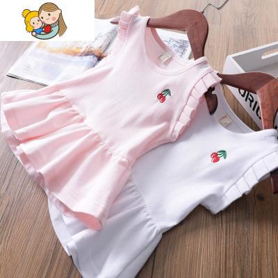 櫻桃針織棉女童休閑運動連衣裙夏裝2018新款女寶寶短袖連衣裙童裝