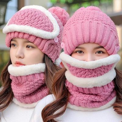 新款帽子口罩圍脖三件套秋冬加絨加厚針織帽騎車毛線帽護耳帽
