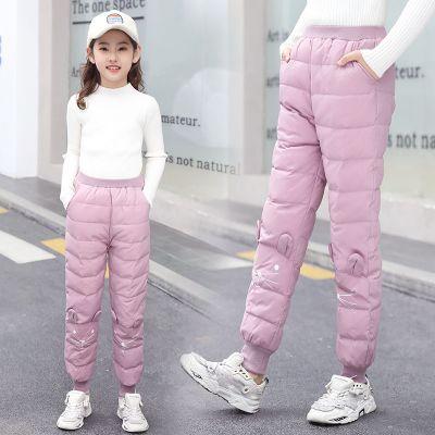 女童羽絨棉褲新款冬季外穿洋氣寬松加絨加厚保暖兒童冬裝褲子 莎丞