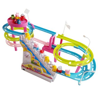 【配6只小豬】抖音同款小豬佩琪爬樓梯玩具公仔玩偶電動燈光音樂上樓梯滑滑梯軌道玩具