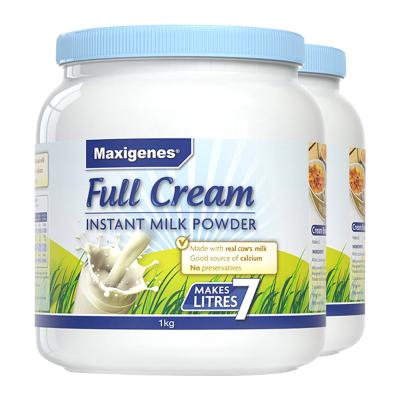 澳洲美可卓(Maxigenes)成人奶粉藍胖子全脂奶粉1000g*2瓶裝 高鈣速溶青少年學生兒童孕婦沖飲奶粉