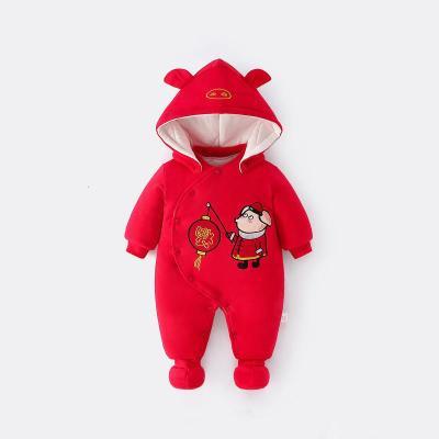 婴儿连体衣服秋冬季套装加厚外出抱衣新年拜年服宝宝冬装哈衣爬行服