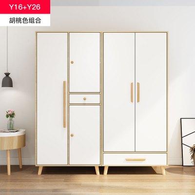 一米色彩 衣柜 北歐衣柜簡易 組裝宜家風格現代雙三四門衣柜拼裝對開儲物柜網紅衣櫥出租房經濟型實木柜子 臥室家具