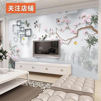 電視閃電客背景墻裝飾花鳥壁紙墻紙自粘3d立體墻貼客廳臥室墻畫貼畫墻布 無縫絲綢布(一平方) 超大