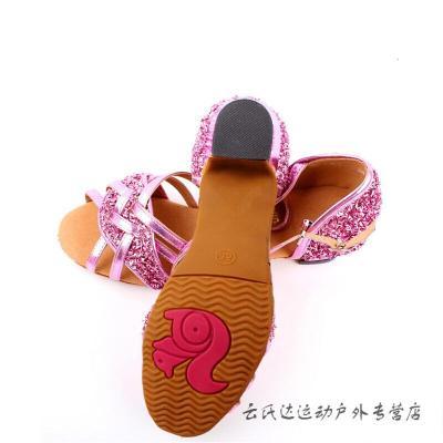 因樂思(YINLESI)運動戶外兒童拉丁舞鞋女孩舞蹈鞋女童拉丁練功鞋少兒舞鞋中跟拉丁鞋
