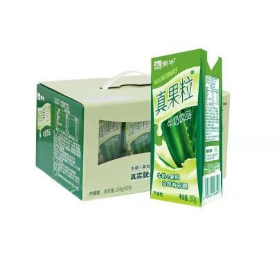 1月蒙牛真果粒牛奶飲品蘆薈果粒250g*12盒