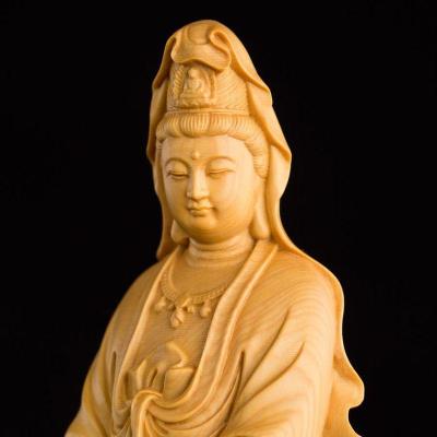 黃楊木雕觀音菩薩佛像 辦公室裝飾品擺件客廳 溫州特色民間工藝品
