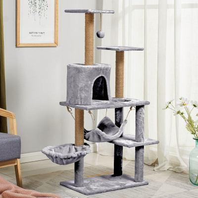 豪华软房子猫爬架吊床猫窝猫树加大绒布猫爬架剑麻加粗猫抓柱抓板 银灰色
