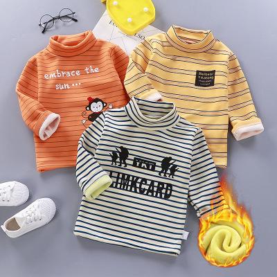 寶寶加絨T恤男女童打底衫秋冬新款童裝嬰幼兒童加絨衛衣保暖上衣