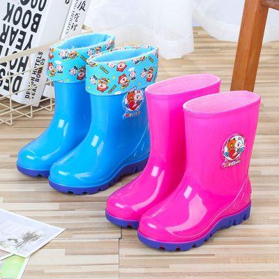 搭啵兔2-10岁儿童雨鞋男女水鞋加绒加棉卡通胶靴水靴雨靴防滑胶鞋雪地靴