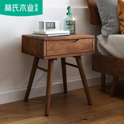 北欧储物柜卧室迷你实木家具床头柜简约现代小边柜床头窄柜LS046