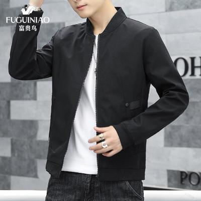 富貴鳥 夾克 男士 2020 春 秋 季 新品 新款 外套 立領 夾克衫 時尚 潮流 休閑 學生 青年 男裝 中年 男