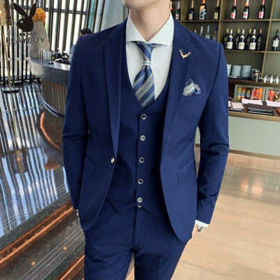 花花公子 ( PLAYBOY ICON )西服套裝男士三件套四季新款韓版修身商務紳士職業裝休閑純色西裝套裝新郎伴郎禮服