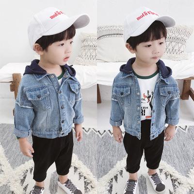 男童牛仔外套秋季新款韓版兒童長袖牛仔衣1-3歲寶寶連帽外套