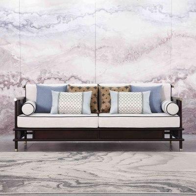 HOTBEE新中式實木沙發現代禪意中國風布藝沙發組合輕奢客廳仿古家具定制