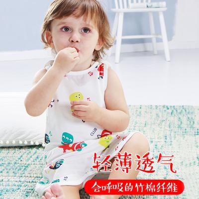 倆個寶寶嬰兒背心睡袋夏季薄護肚竹纖維紗布分腿男女童空調防踢被