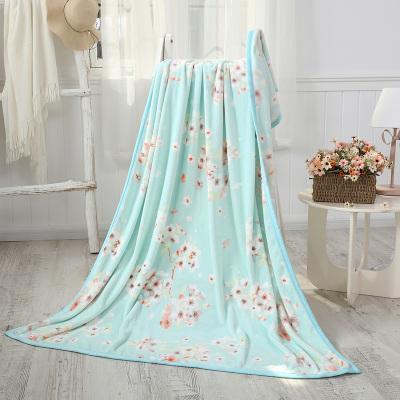 水星家纺 樱花园法兰绒毯 单人空调珊瑚绒薄毯学生宿舍盖毯