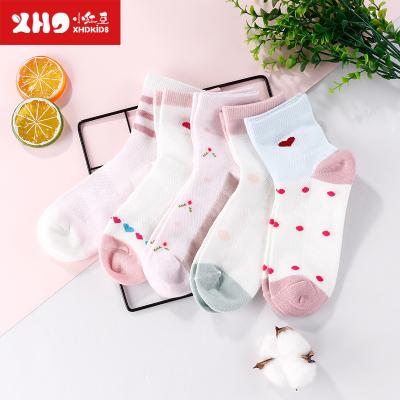 小紅豆女童襪子春秋新款兒童棉襪中大童短襪寶寶中筒襪童襪5雙裝