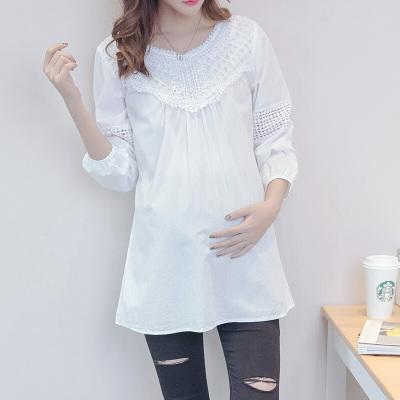 迪鲁奥(DILUAO)孕妇装春秋装长袖新款T恤白色蕾丝上衣中长款OL职业妈妈装衣 白色